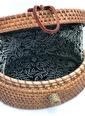 ÇIRPAN EV Siyah Desenli Oval Hasır Çanta Siyah